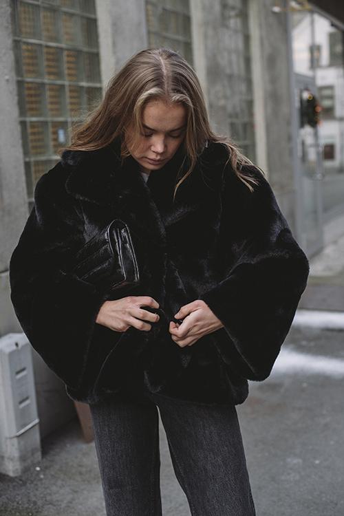 Anine Bing Calvin Coat Black fuskepels