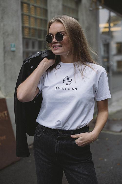 Anine Bing Hudson Monogram Tee White t-skjorte