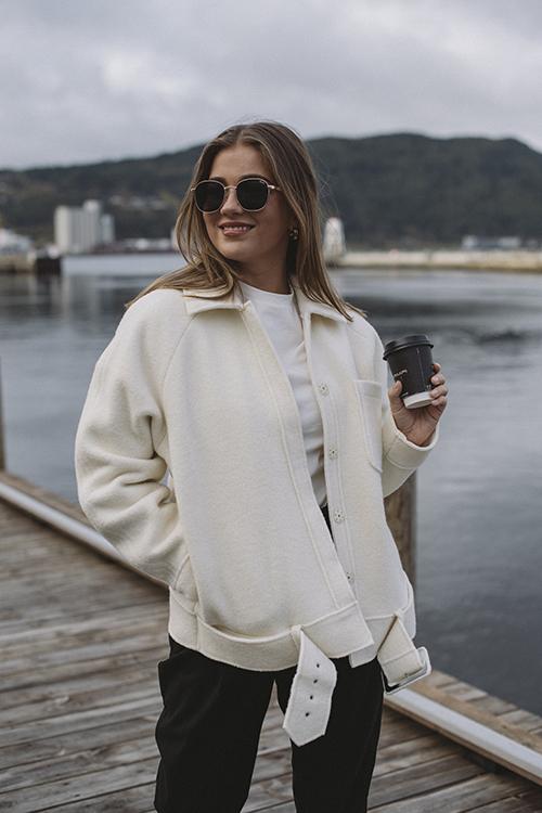 Anine Bing Jaden Jacket White ulljakke