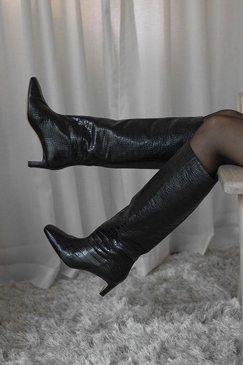 Felicia Boots Black Croc