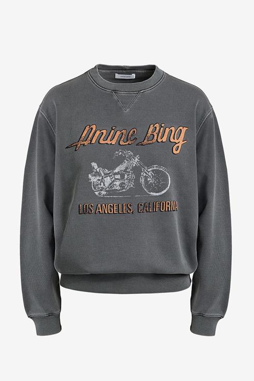 Anine Bing Ramona Sweatshirt Motorcycle Charcoal genser