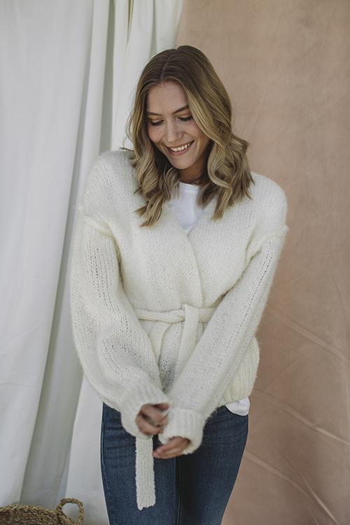 American Vintage Manina Cardigan Blanc strikket jakke