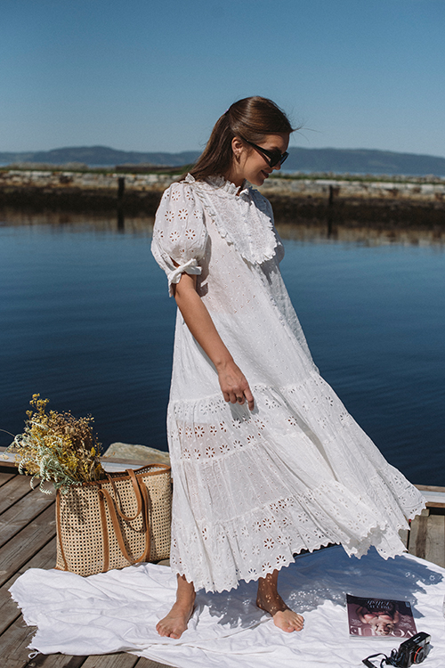 byTiMo Broderie Anglaise Midi Dress White kjole