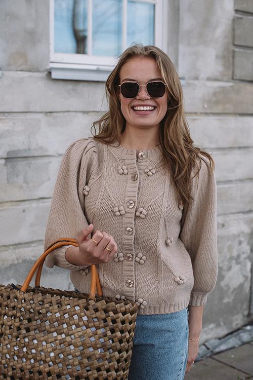 byTiMo Cotton Knit Cardigan Beige strikket jakke