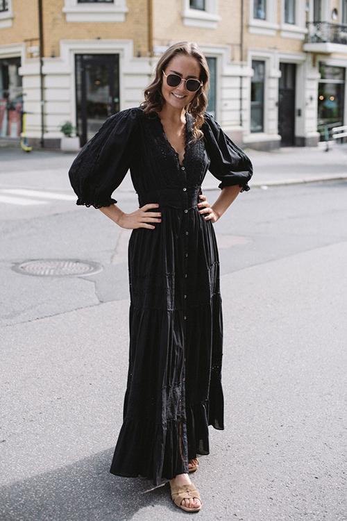 byTiMo Cotton Slub Maxi Dress Black kjole
