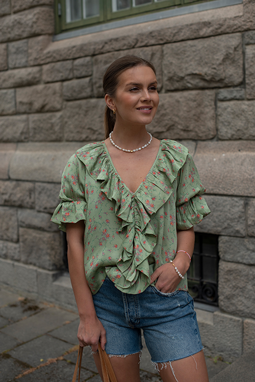 byTiMo Satin Top Rose Field bluse topp