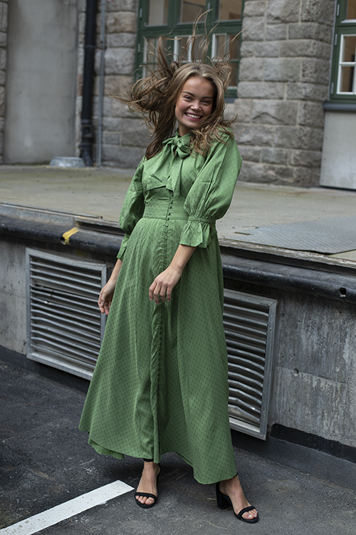 Delicate Button Down Gown Green Dots
