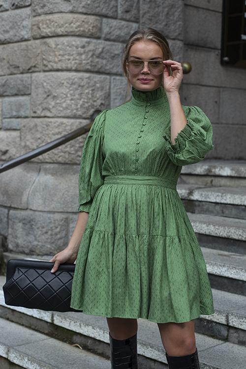 byTiMo Delicate Mini Tulle Dress Green Dots kjole