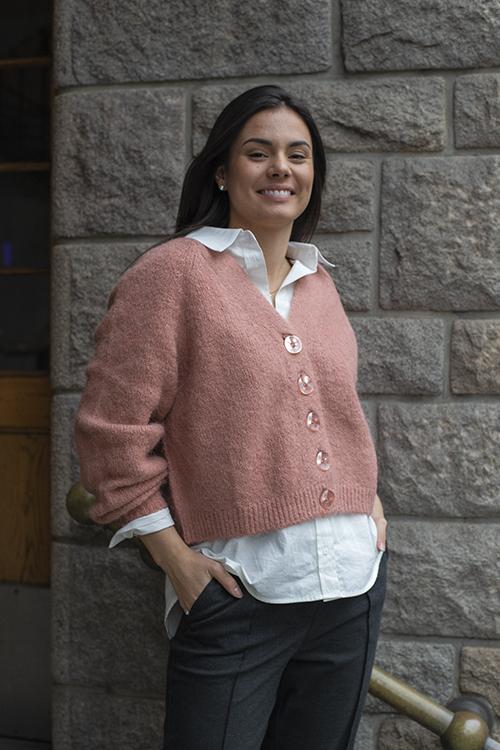 byTiMo Hairy Knit Cardigan Vintage Pink strikket jakke