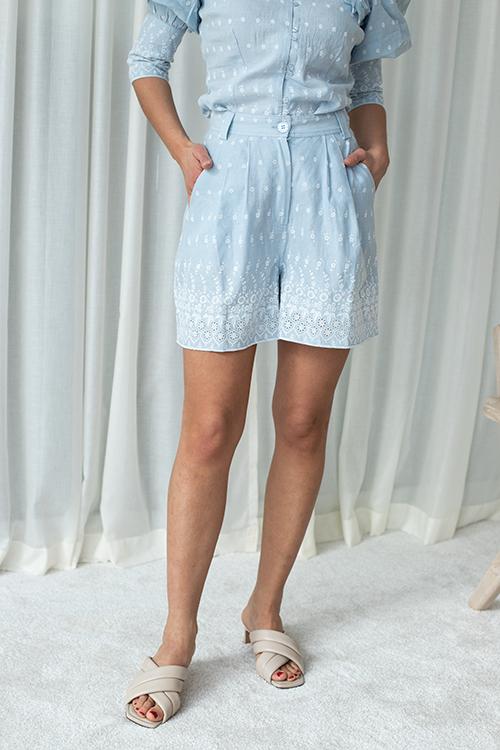 byTiMo Linen Shorts Light Blue