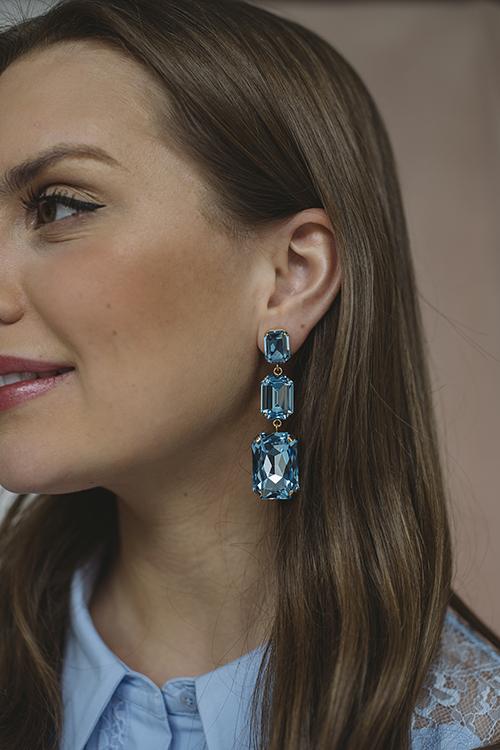 Alexa Long Earring Gold Aquarmarine