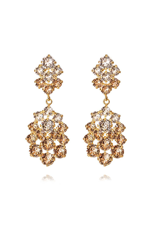 Celena Earring Gold Crystal/Silk