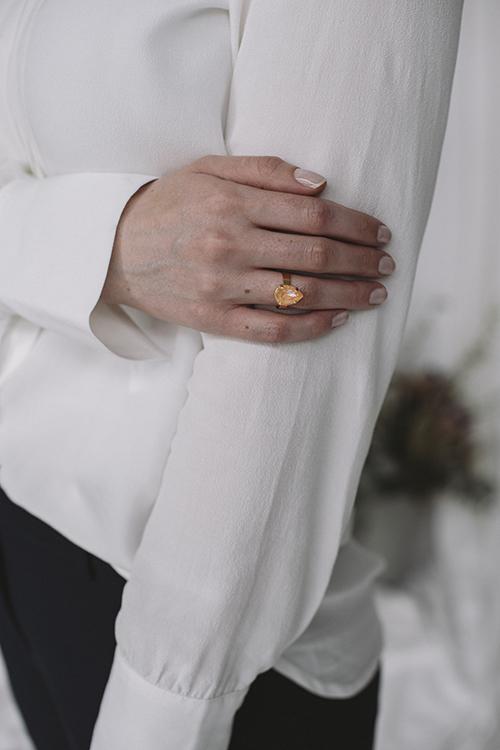 Mini Drop Ring Gold Peach Delite