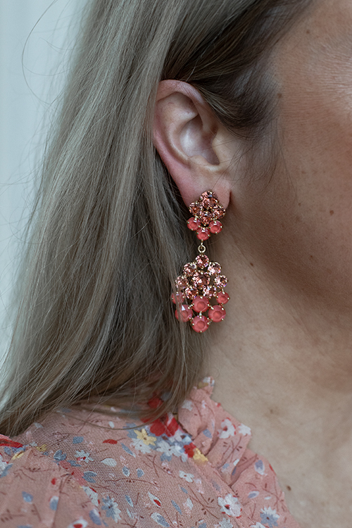 Celena Earring Gold Rose Peach Combo