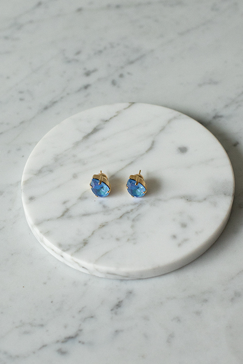Caroline svedbom mini drop studs earrings øredobb øredobber ocean blue delite gull