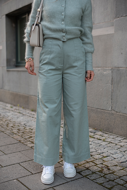 Twill Wide Leg Pant Feather Blue