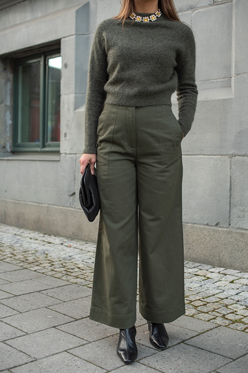 Twill Wide Leg Pant Army Green