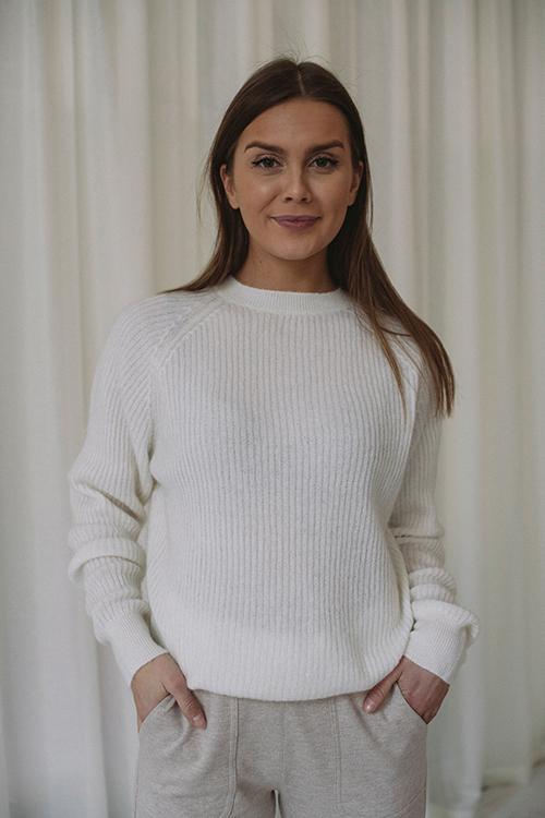 Day Birger Et Mikkelsen Essence Sweater Ivory Shade Strikkegenser