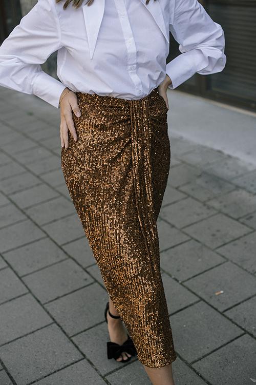 DAY Birger et Mikkelsen Song Skirt Caramello paljettskjørt