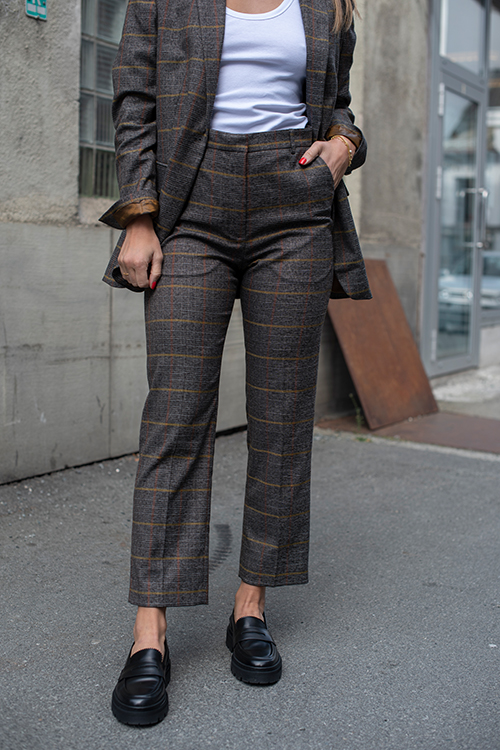 Vera Daily Check Pants Medium Grey Melange