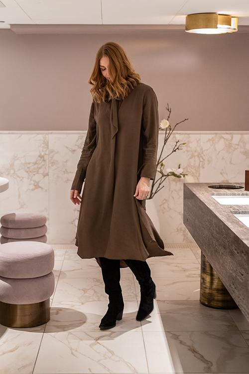 Designers Remix Eliza Tie Dress Khaki kjole