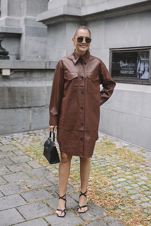 Designers Remix Marie Shirt Dress Brown kjole skjortekjole