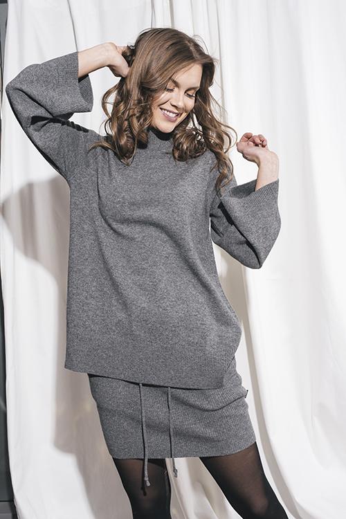 Elle&il Annie Wool Sweater Grey genser