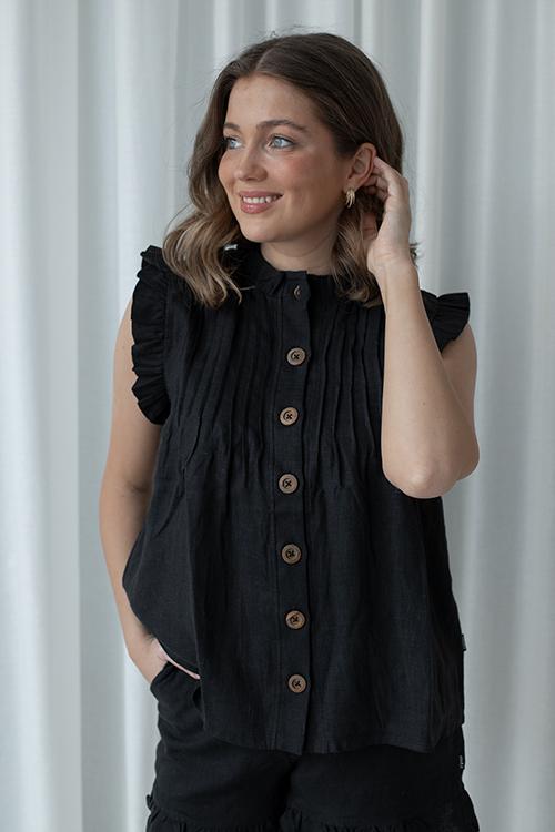 Loonie Linen Top Black