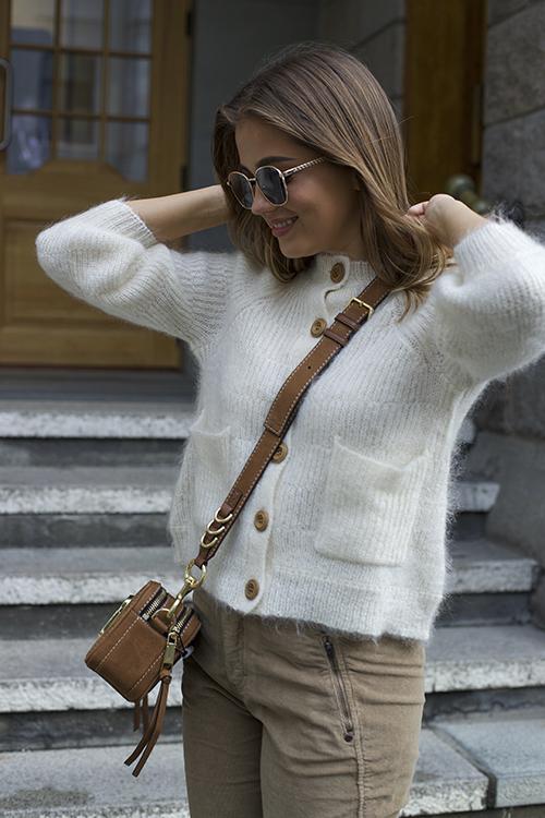 Ella&il Nikky Cardigan White strikket jakke