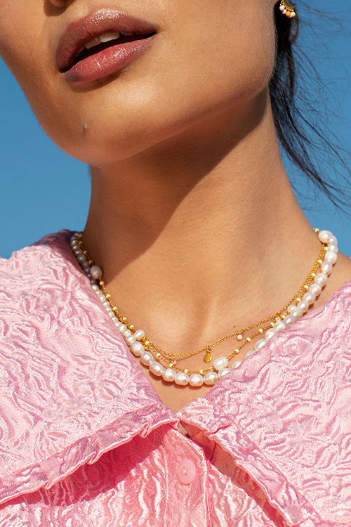 Lola Perlita Necklace Lemon/Pearl