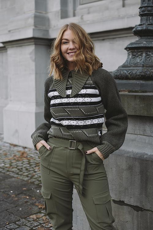 GANNI Knit Pattern Pullover Kalamata genser