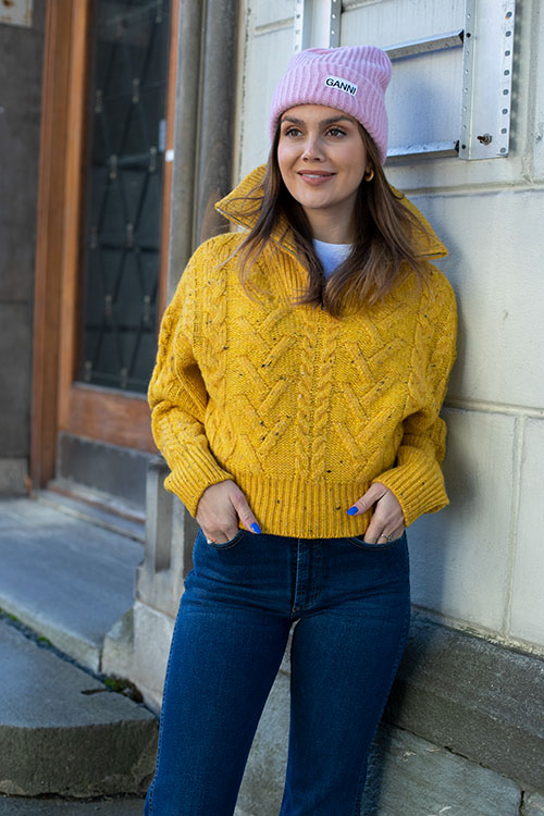Cable Knit Zipper Sweater Spectra Yellow