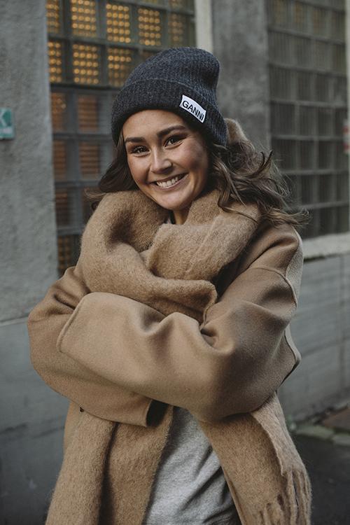 GANNI Recycled Wool Knit Hat Phantom lue