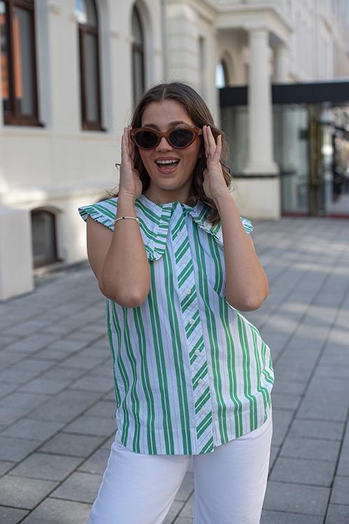 GANNI Stripe Cotton Sleeveless Shirt Kelly Green topp