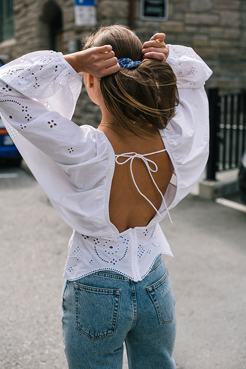 GANNI Broderie Anglaise Blouse Bright White bluse