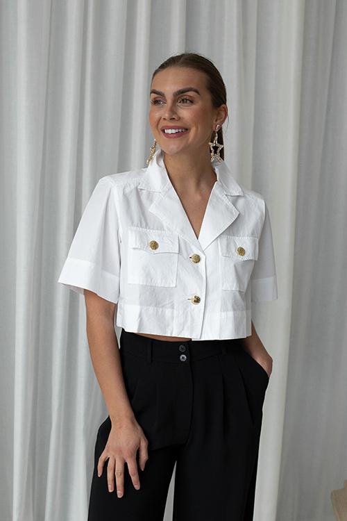 Ganni Cotton Poplin Cropped Shirt Bright White skjorte