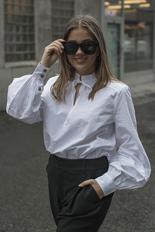 GANNI Cotton Poplin Blouse Bright White bluse skjorte