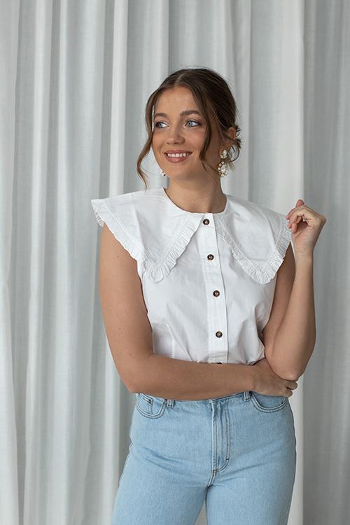 Ganni Cotton Poplin Sleeveless Shirt Bright White skjorte