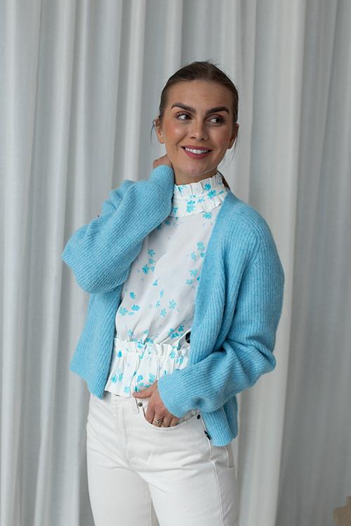 Ganni Soft Wool Knit Cardigan Bachelor Blue Strikkejakke