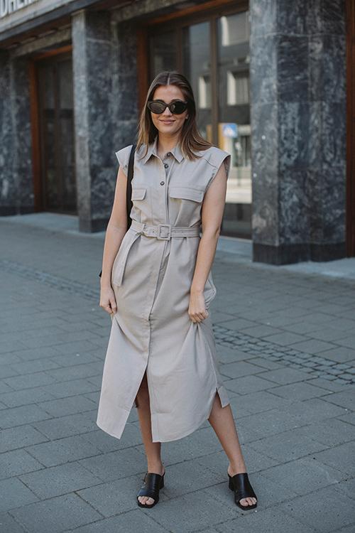 Leeja Sl Shirt Dress Pure Cashmere