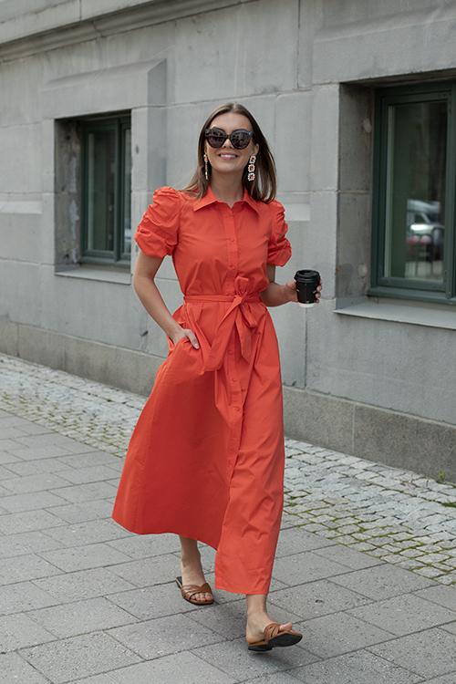 HiiL Studio Amazing Long Dress Tangerine Tango kjole