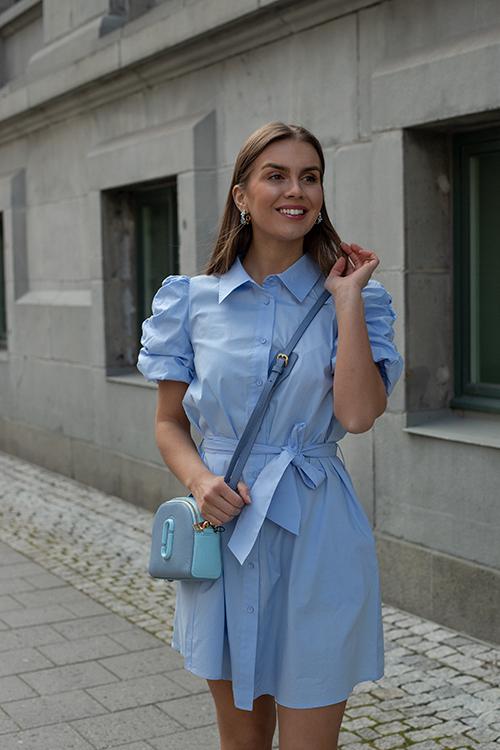 HiiL Studio Amazing Mini Dress Chambray Blue kjole