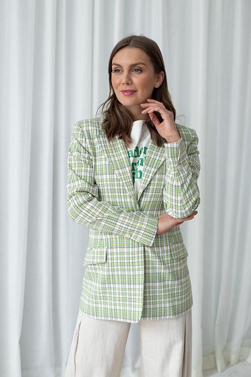 Angelonia Check Blazer Green Check