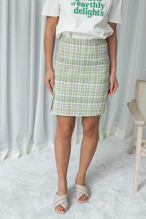 Holzweiler Belle Check Skirt Green Check skjørt