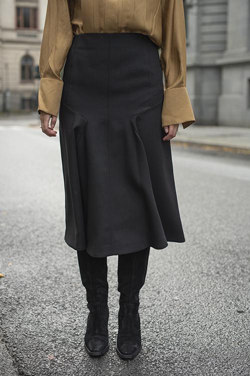 Gaby Wool Pleat Skirt Black skjørt