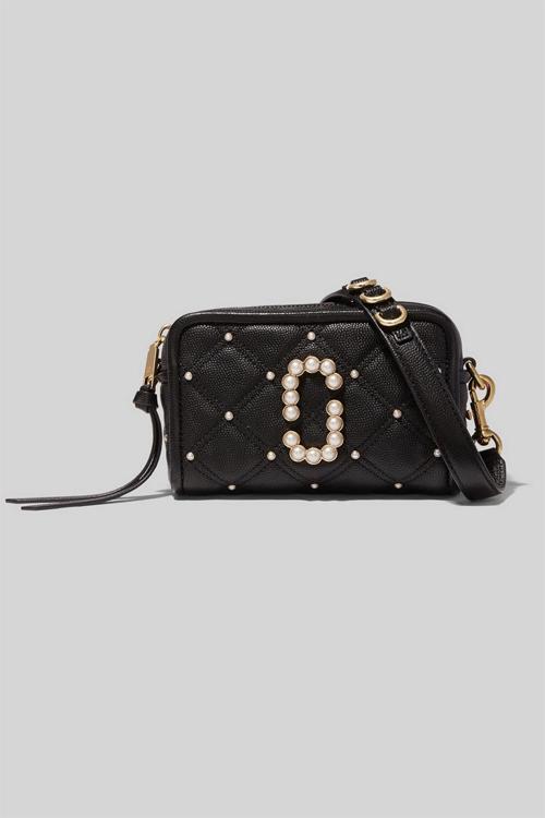 Marc Jacobs The Softshot Quilted Pearls Black veske