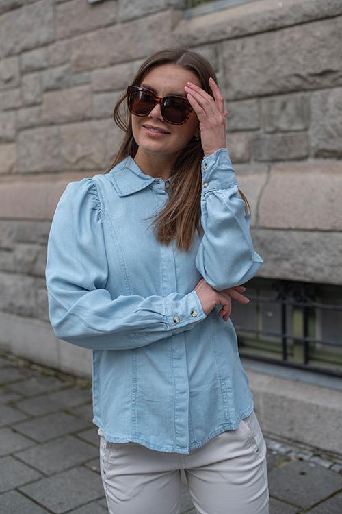 Norr Blade Shirt Light Blue Wash skjorte