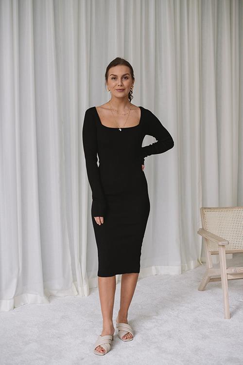 NORR Flora Knit Dress Black kjole