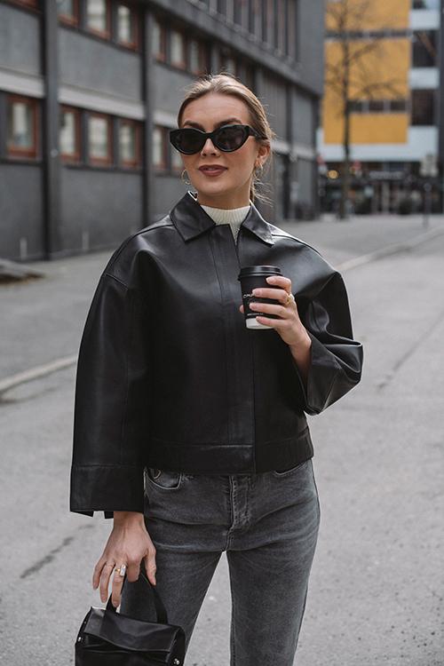 One&Other Andy Leather Jacket Black skinnjakke