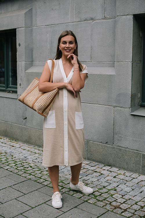 One&Other Apple Knitted Dress Ecru/Lt Beige kjole